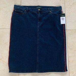 Ralph Lauren NWT $110 Blue Red Jean Skirt Sz 16W